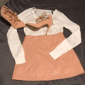 Pale flesh pink faux leather A-line mini skirt